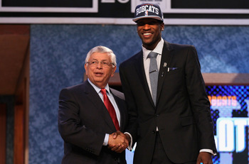 Michael Kidd-Gilchrist shakes David Stern's hand after being selected by Charlotte.