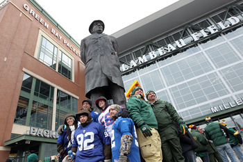 Statue of Vince Lombardi in front of Lambeau Field.