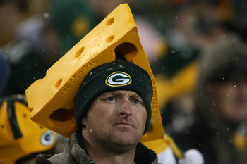 Fan wearing cheesehead.
