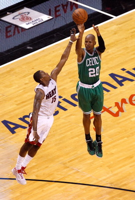 MIAMI, FL - JUNE 05:  Ray Allen #20 of the Boston Celtics attempts a shot in the first half against Mario Chalmers #15 of the Miami Heat in Game Five of the Eastern Conference Finals in the 2012 NBA Playoffs on June 5, 2012 at American Airlines Arena in M