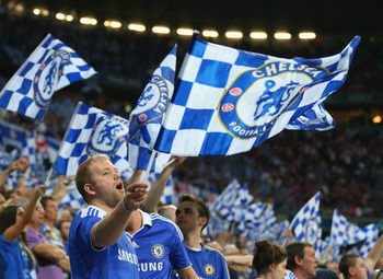 MUNICH, GERMANY - MAY 19:  Chelsea fans support their team during UEFA Champions League Final between FC Bayern Muenchen and Chelsea at the Fussball Arena München on May 19, 2012 in Munich, Germany.  (Photo by Alex Livesey/Getty Images)