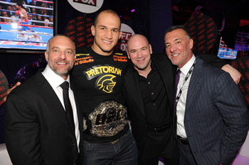 From left to right: Lorenzo Fertitta, UFC heavyweight champion Junior Dos Santos, Dana White, and Frank Fertitta III.