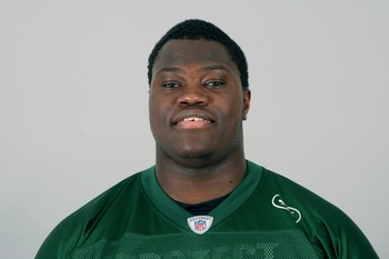 FLORHAM PARK, NJ - CIRCA 2011: In this handout image provided by the NFL, Vladimir Ducasse of the New York Jets poses for his NFL headshot circa 2011 in Florham Park, New Jersey. (Photo by NFL via Getty Images)