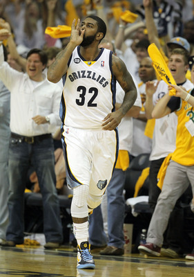 MEMPHIS, TN - APRIL 29: O.J. Mayo #32 of the Memphis Grizzlies celebrates after making a three point shot against the Los Angeles Clippers in Game One of the Western Conference Quarterfinals in the 2012 NBA Playoffs at FedExForum on April 29, 2012 in Memp