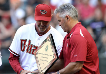 Diamondbacks manager Kirk Gibson (L) and GM Kevin Towers (R).
