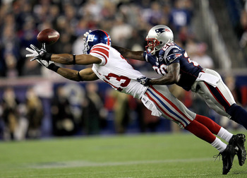 Barden leaps for a catch in a game against the New England Patriots.