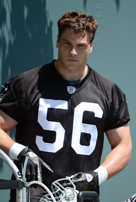 ALAMEDA, CA - MAY 12:  Miles Burris #56 of the Oakland Raiders looks on during the Raiders Rookie Minicamp on May 12, 2012 at the Oakland Raiders Training Facility in Alameda, California.  (Photo by Thearon W. Henderson/Getty Images)