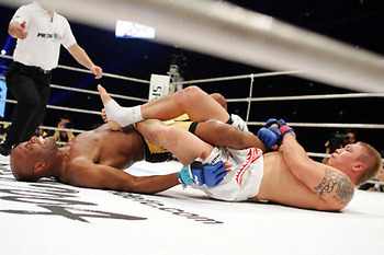 Ryo Chonan submits Anderson Silva with a flying heel hook.  Credit: mmamania.com