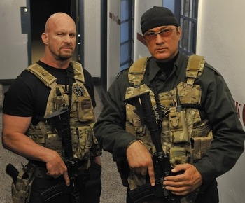 The coaches collaborate on an upcoming action film.  Credit: stevenseagal.com