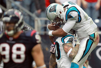 Cam Newton (1) celebrates a touchdown with Jeremy Shockey. (December 17, 2011 - Source: Ronald Martinez/Getty Images North America)