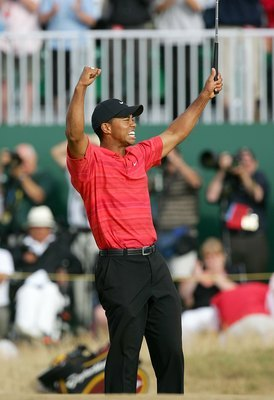 Tiger Woods reacts to a shot at the 2006 British Open. Woods, who also won the event in 2005, would win it that year as well for his eleventh major, tying Walter Hagen on the all time list behind Jack Nicklaus.