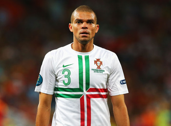 DONETSK, UKRAINE - JUNE 27: Pepe of Portugal looks on during the UEFA EURO 2012 semi final match between Portugal and Spain at Donbass Arena on June 27, 2012 in Donetsk, Ukraine.  (Photo by Martin Rose/Getty Images)