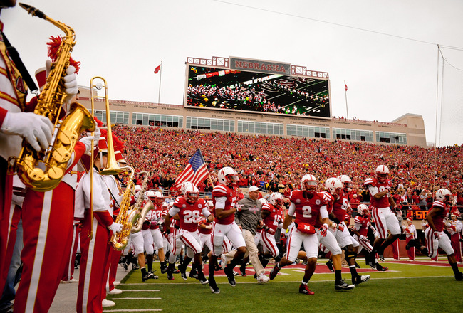LINCOLN, NE - NOVEMBER 25: The Nebraska Cornhusker marching band waits to play the football team onto the field before their game at Memorial Stadium November 25, 2011 in Lincoln, Nebraska. Nebraska defeated Iowa 20-7. (Photo by Eric Francis/Getty Images)