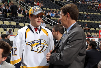 Nashville GM David Poile with future-Predator Pontus Aberg