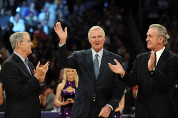 Gail Goodrich, Jerry West and their old teammate Pat Riley.