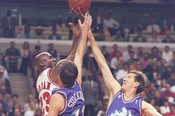 Michael Jordan over John Stockton and Jeff Hornacek.