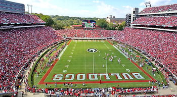 Sanford Stadium surrounded by the hedges