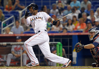 MIAMI, FL - JUNE 07:  Hanley Ramirez #2 of the Miami Marlins breaks his bat during a game against the Atlanta Braves at Marlins Park on June 7, 2012 in Miami, Florida.  (Photo by Mike Ehrmann/Getty Images)