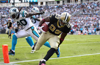 In last season's road victory at Carolina, it took a comeback from Drew Brees. Pierre Thomas capped the game-winning drive with this touchdown reception with 50 seconds left.