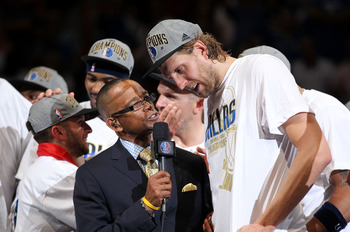 Dirk Nowitzki is interviewed after winning the 2011 NBA Finals.