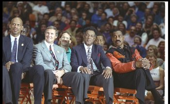 Wilt ( far right) next to other great Lakers: Kareem Abdul-Jabbar, Jerry West and Elgin Baylor.
