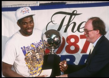Magic Johnson accepts the 1987 NBA Finals MVP Award.