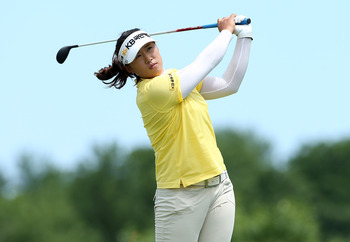 KOHLER, WI - JULY 08:  Amy Yang of South Korea tees off on the 5th hole during the final round of the 2012 U.S. Women's Open on July 8, 2012 at Blackwolf Run in Kohler, Wisconsin.  (Photo by Elsa/Getty Images)