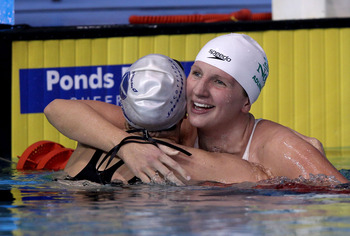 SHEFFIELD, ENGLAND - JUNE 20:  Rebecca Adlington is congratulated after winning the Women's 200m Freestyle final during the British Gas ASA National Championships at Ponds Forge on June 20, 2012 in Sheffield, England.  (Photo by Clive Rose/Getty Images)