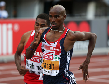 HELSINKI, FINLAND - JUNE 27:  Mo Farah of Great Britain competes in the Men's 5000 Metre Final during day one of the 21st European Athletics Championships at the Olympic Stadium on June 27, 2012 in Helsinki, Finland.  (Photo by Ian Walton/Getty Images)