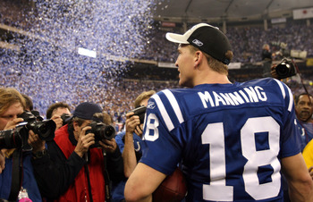 Peyton Manning of the Indianapolis Colts celebrates after the AFC Championship game between the New England Patriots and Indianapolis Colts at the RCA Dome in Indianapolis, Indiana on January 21, 2007. The Colts defeated the Patriots 38 - 34. (Photo by Mi