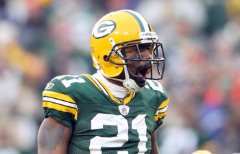 GREEN BAY, WI - NOVEMBER 20:   Charles Woodson #21 of the Green Bay Packers celebrates after he sacks  Josh Freeman of the Tampa Bay Buccaneers on November 20,2011 at Lambeau Field in Green Bay, Wisconsin.  (Photo by Elsa/Getty Images)