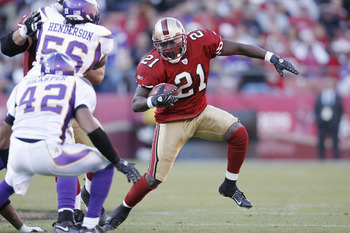 Frank Gore picks up yardage against Minnesota in a previous game