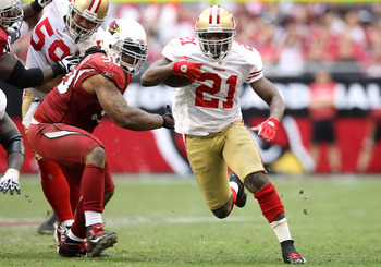Frank Gore shown rushing against the Cardinals in 2011