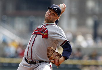 PITTSBURGH, PA - OCTOBER 03:  Ben Sheets #30 of the Atlanta Braves pitches against the Pittsburgh Pirates during the game on October 3, 2012 at PNC Park in Pittsburgh, Pennsylvania.  (Photo by Justin K. Aller/Getty Images)