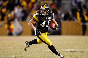 Troy Polamalu running to find out why there aren't more safeties in Canton.