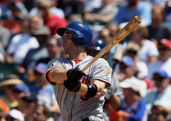 CHICAGO, IL - JUNE 27:  David Wright #5 of the New York Mets gets a hit against the Chicago Cubs at Wrigley Field on June 27, 2012 in Chicago, Illinois.  (Photo by Scott Halleran/Getty Images)