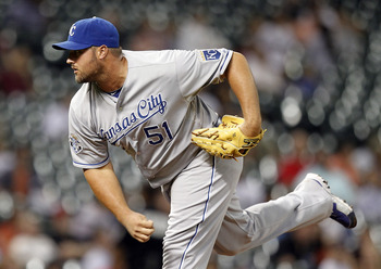 HOUSTON, TX - JUNE 19:  Jonathan Broxton #51 of the Kansas City Royals throws in the ninth inning against the Houston Astros at Minute Maid Park on June 19, 2012 in Houston, Texas.  (Photo by Bob Levey/Getty Images)