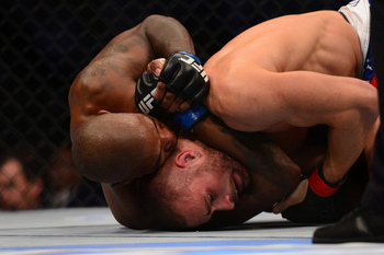 July 11, 2012; San Jose, CA, USA; Karlos Vemola (bottom) fights Francis Carmont (top) during the middleweight bout of the UFC on Fuel TV at HP Pavilion. Mandatory Credit: Kyle Terada-US PRESSWIRE