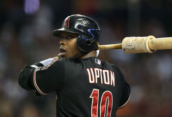 Justin Upton looks over his shoulder for a possible trade in the near future.