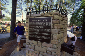 A plaque at Augusta National, dedicated to Arnold Palmer's accomplishments at The Masters.