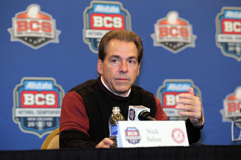 NEW ORLEANS, LA - JANUARY 10:  Head coach Nick Saban of the Alabama Crimson Tide talks to the media during a press conference following the win over Louisiana State University Tigers in the 2012 Allstate BCS National Championship Game on January 10, 2012