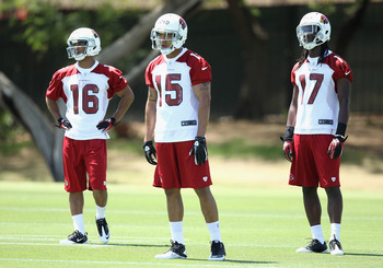 Rookie receivers Michael Floyd (15), Tre Gray (16) and LaRod Byrd (17).