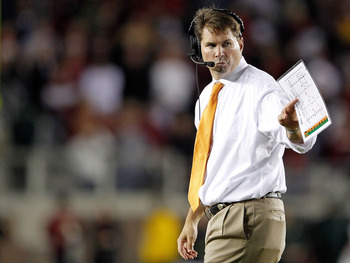 TALLAHASSEE, FL - NOVEMBER 12:   Miami Hurricanes head coach Al Golden looks on  during a game against the Florida State Seminoles  at Doak Campbell Stadium on November 12, 2011 in Tallahassee, Florida.  (Photo by Mike Ehrmann/Getty Images)