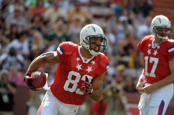 Jan 29, 2012; Honolulu, HI, USA;  AFC wide receiver Vincent Jackson of the San Diego Chargers (83) runs with the ball against the NFC during the 2012 Pro Bowl at Aloha Stadium. Mandatory Credit: Kirby Lee/Image of Sport-US PRESSWIRE