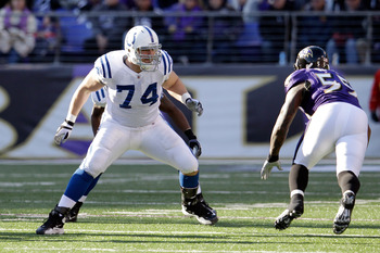 BALTIMORE, MD - DECEMBER 11:  Anthony Castonzo #74 of the Indianapolis Colts blocks Terrell Suggs #55 of the Baltimore Ravens at M&amp;T Bank Stadium on December 11, 2011 in Baltimore, Maryland.  (Photo by Rob Carr/Getty Images)