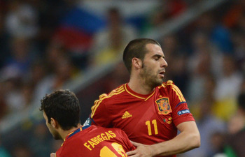 Cesc Fabregas and Alvaro Negredo During Spain's Participation in Euro 2012