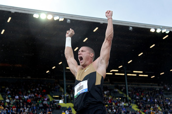 EUGENE, OR - JUNE 22:  Trey Hardee reacts after competing in the shot put portion of the decathlon during Day One of the 2012 U.S. Olympic Track & Field Team Trials at Hayward Field on June 22, 2012 in Eugene, Oregon.  (Photo by Christian Petersen/Getty I