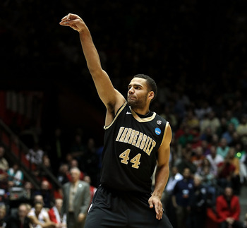 ALBUQUERQUE, NM - MARCH 17:  Jeffery Taylor #44 of the Vanderbilt Commodores watches his three point attempt against the Wisconsin Badgers during the third round of the 2012 NCAA Men's Basketball Tournament at The Pit on March 17, 2012 in Albuquerque, New