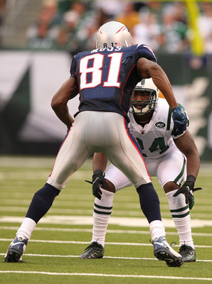 Randy Moss appears to tower over Darrelle Revis.