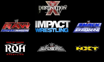 Logos from Wikipedia, but copyright to WWE, TNA and ROH